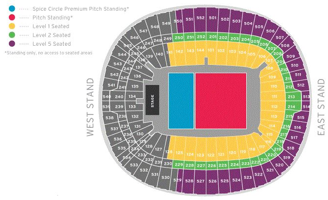 Spice Girls (Sat Night Show!) Seating plan